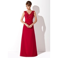 A-Line/Princess V-neck Floor-Length Chiffon Mother of the Bride Dress With Ruffle Lace Beading Sequins