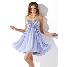 Empire Sweetheart Short/Mini Chiffon Homecoming Dress With Ruffle Sequins