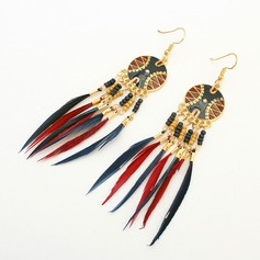 Fashional Alloy Resin Feather With Feather Ladies' Fashion Earrings