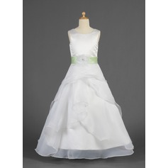A-Line/Princess Floor-length Flower Girl Dress - Organza/Charmeuse Sleeveless Scoop Neck With Ruffles/Sash/Flower(s)