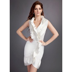 Sheath/Column Halter Short/Mini Satin Cocktail Dress With Cascading Ruffles