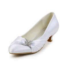 Kitten Heel Closed Toe Wedding Shoes With Rhinestone Ruched (047026402)
