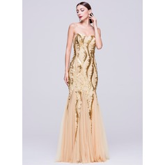 Trumpet/Mermaid Sweetheart Floor-Length Tulle Sequined Evening Dress