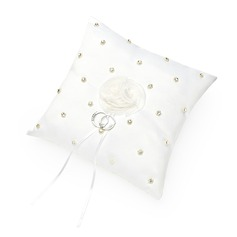 Elegant Ring Pillow in Satin With Faux Pearl