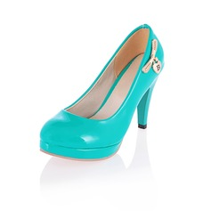 Patent Leather Stiletto Heel Closed Toe Platform Pumps With Bowknot (085022840)