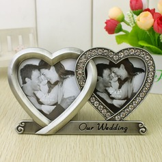 Double Hearts Chrome Photo Frames
