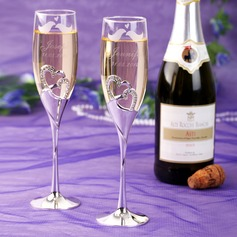 Personalized Lovely Birds Glass Toasting Flutes (Set of 2)