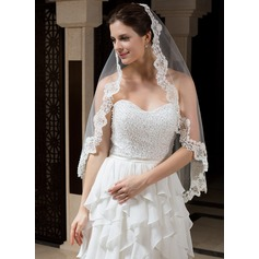 One-tier Fingertip Bridal Veils With Lace Applique Edge (006035806)