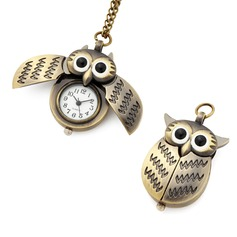 Owl Shaped Zinc Alloy Pocket Watch