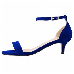 Women's Suede Low Heel Sandals Peep Toe shoes (087091910)