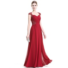 A-Line/Princess Sweetheart Floor-Length Chiffon Evening Dress With Ruffle Appliques Lace