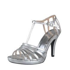 Leatherette Cone Heel Platform Slingbacks Sandals With Buckle