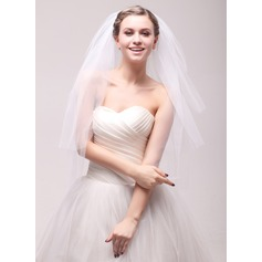 Four-tier Cut Edge Waltz Bridal Veils With Rhinestones