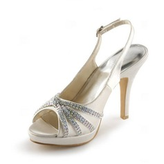 Satin Stiletto Heel Peep Toe Platform Slingbacks Pumps Sandals Wedding Shoes With Buckle Rhinestone (047005496)