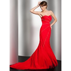 Trumpet/Mermaid Sweetheart Sweep Train Chiffon Evening Dress With Beading