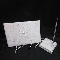 Cute Lace/Satin Faux Pearl/Ribbons Guestbook/Pen Set