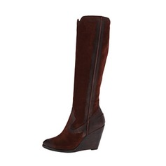 Women's Suede Wedge Heel Pumps Closed Toe Wedges Boots Over The Knee Boots shoes