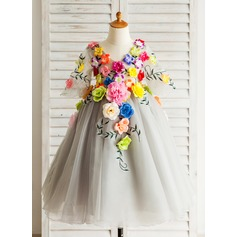 A-Line/Princess Tea-length Flower Girl Dress - Tulle 3/4 Sleeves V-neck With Embroidered/Flower(s)