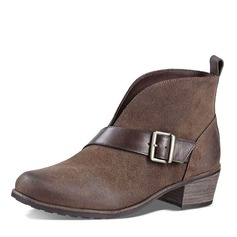 Women's Suede Wedge Heel Boots Ankle Boots With Buckle shoes