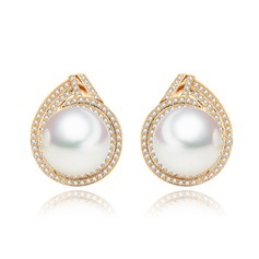 Classic Copper/Zircon/Platinum Plated With Imitation Pearls Women's/Ladies' Earrings