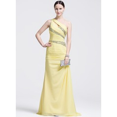 Trumpet/Mermaid One-Shoulder Sweep Train Chiffon Evening Dress With Ruffle Beading Sequins