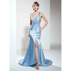 Trumpet/Mermaid V-neck Sweep Train Charmeuse Evening Dress With Ruffle Beading Split Front