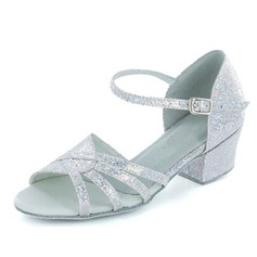 Kids' Sparkling Glitter Sandals Flats Latin With Buckle Dance Shoes