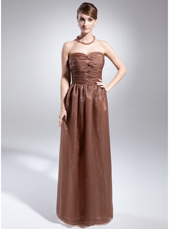 A-Line/Princess Sweetheart Floor-Length Organza Holiday Dress With Ruffle