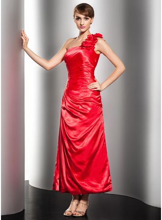 A-Line/Princess One-Shoulder Ankle-Length Charmeuse Holiday Dress With Ruffle