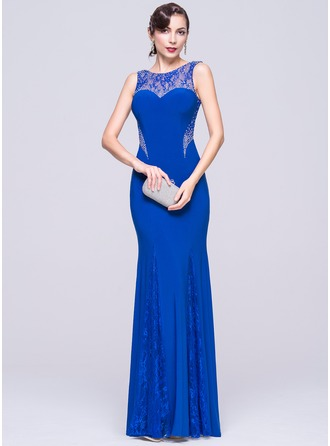 Trumpet/Mermaid Scoop Neck Floor-Length Lace Jersey Evening Dress With Beading