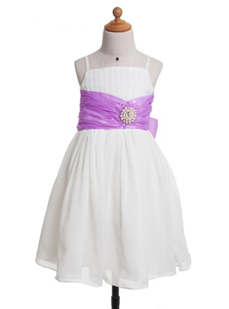 A-Line/Princess Ankle-Length Satin Flower Girl Dress With Sash Beading