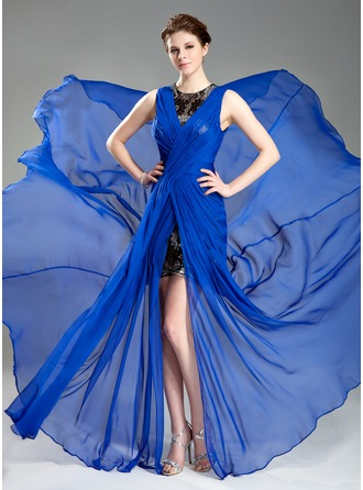 A-Line/Princess Scoop Neck Court Train Chiffon Evening Dress With Ruffle Lace Split Front