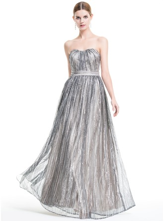 A-Line/Princess Sweetheart Floor-Length Sequined Evening Dress With Ruffle