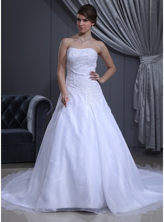 A-Line/Princess Sweetheart Cathedral Train Satin Organza Wedding Dress With Beading