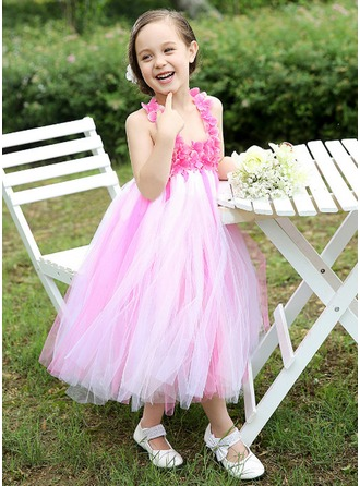 Empire Square Neckline Tea-Length Tulle Flower Girl Dress With Flower(s) Bow(s)