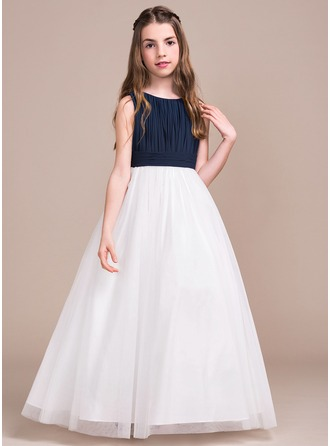 A-Line/Princess Scoop Neck Floor-Length Chiffon Tulle Junior Bridesmaid Dress With Ruffle