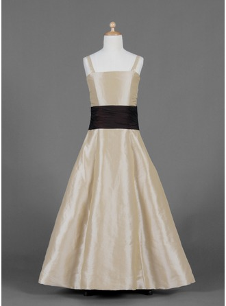 A-Line/Princess Floor-Length Taffeta Junior Bridesmaid Dress With Sash