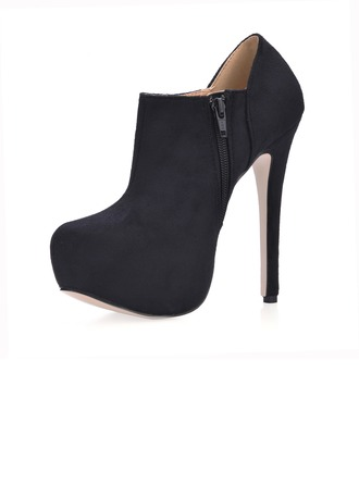 Suede Stiletto Heel Closed Toe Platform Ankle Boots