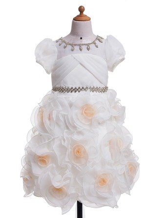 A-Line/Princess Scoop Neck Tea-Length Satin Flower Girl Dress With Flower(s) Sequins