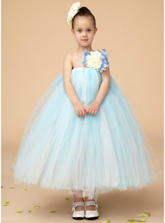 Empire One-Shoulder Ankle-Length Tulle Flower Girl Dress With Flower(s)