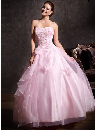 Ball-Gown Sweetheart Floor-Length Satin Tulle Quinceanera Dress With Lace Beading Flower(s) Cascading Ruffles
