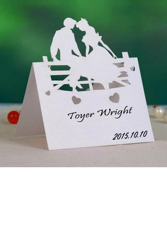 Bride and Groom Pearl Paper Place Cards