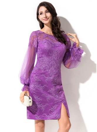 Sheath/Column Scoop Neck Knee-Length Tulle Lace Cocktail Dress With Split Front Cascading Ruffles