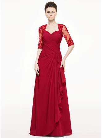 A-Line/Princess Sweetheart Floor-Length Chiffon Mother of the Bride Dress With Appliques Lace Cascading Ruffles