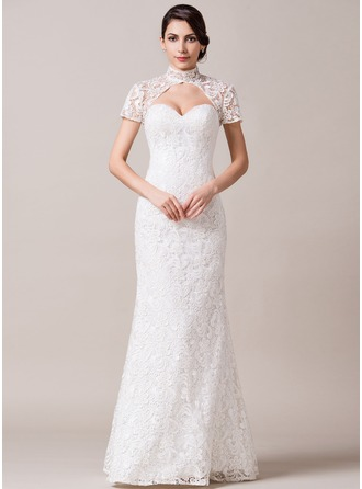 Trumpet/Mermaid High Neck Floor-Length Lace Wedding Dress