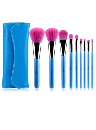 Artificial Fibre Pretty 9Pcs Blue Pouch Makeup Supply