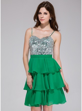 A-Line/Princess Sweetheart Short/Mini Chiffon Sequined Homecoming Dress With Beading Cascading Ruffles
