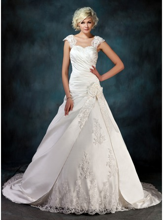 Ball-Gown Sweetheart Chapel Train Satin Tulle Wedding Dress With Ruffle Beading Appliques Lace Flower(s)
