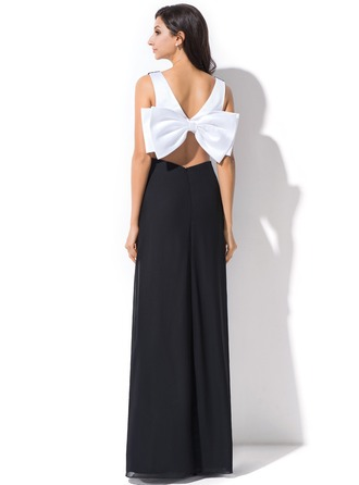 Sheath/Column V-neck Floor-Length Chiffon Holiday Dress With Ruffle Bow(s)