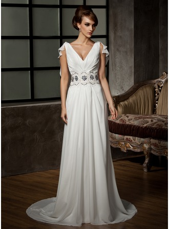 A-Line/Princess V-neck Court Train Chiffon Wedding Dress With Ruffle Beading Appliques